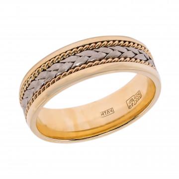 Золотое обручальное кольцо с декоративной обработкой