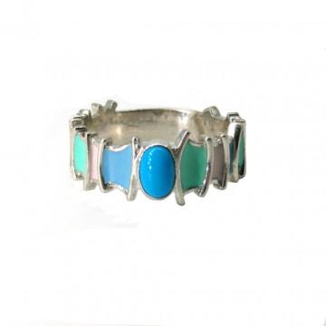 Кольцо с бирюзой и эмалью